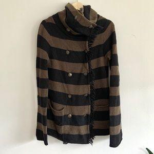 Free People Striped Lambswool Cardigan Sweater